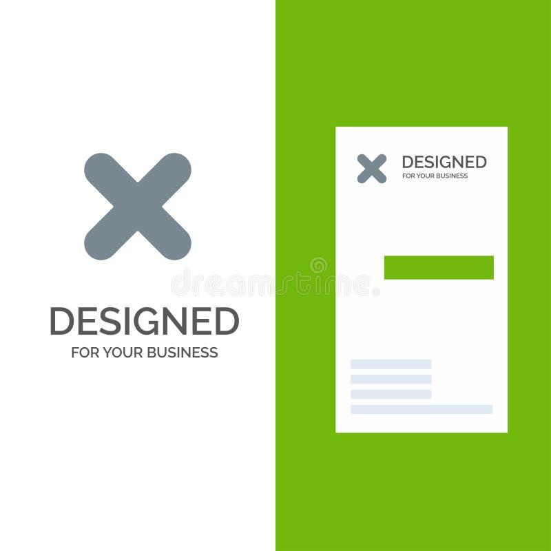Borttagnings, annullering, slut, kors Grey Logo Design och mall för affärskort stock illustrationer