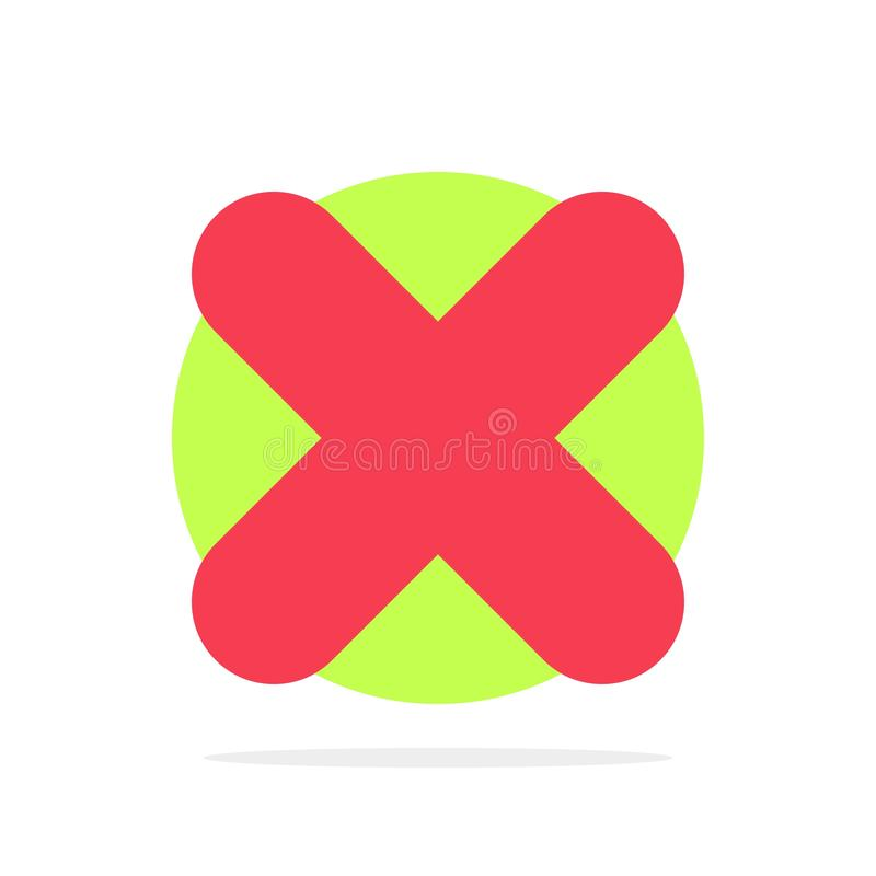 Borttagnings annullering, slut, symbol för färg för arg abstrakt cirkelbakgrund plan stock illustrationer