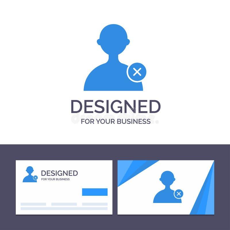 Borttagnings för idérik mall för affärskort och logo, man, användarevektorillustration stock illustrationer