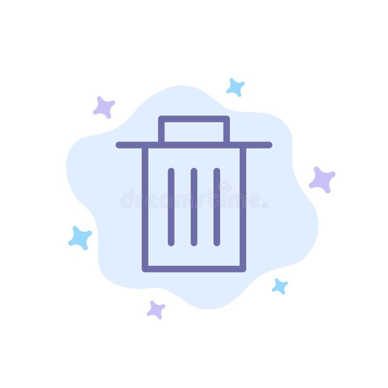 Borttagnings manöverenhet, avfall, blå symbol för användare på abstrakt molnbakgrund vektor illustrationer