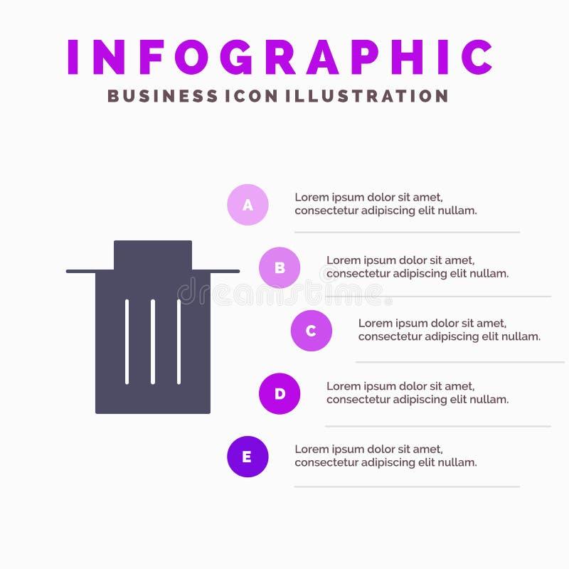 Borttagnings manöverenhet, avfall, för symbolsInfographics 5 för användare fast bakgrund för presentation moment stock illustrationer