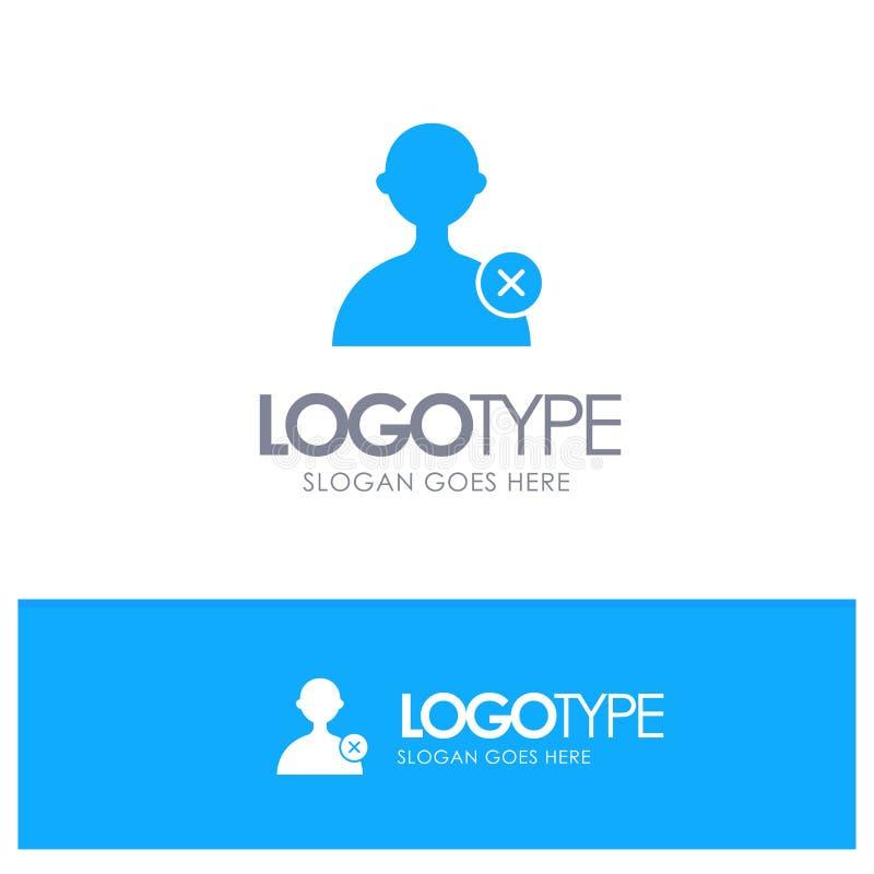 Borttagnings man, blå fast logo för användare med stället för tagline stock illustrationer