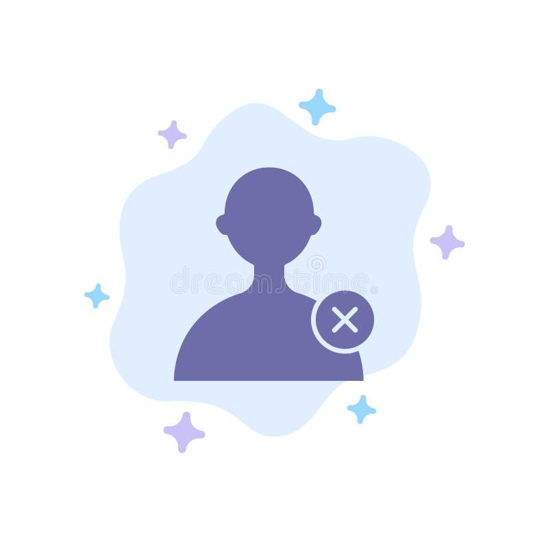Borttagnings man, blå symbol för användare på abstrakt molnbakgrund vektor illustrationer