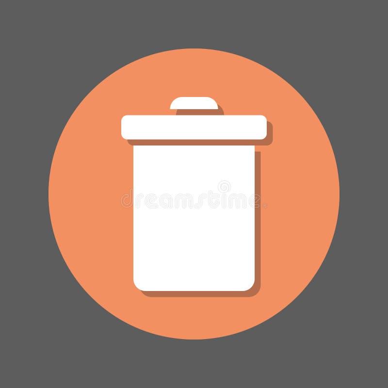 Borttagnings soptunna, symbol för lägenhet för återvinningfack Rund färgrik knapp, runt vektortecken med skuggaeffekt Plan stilde royaltyfri illustrationer