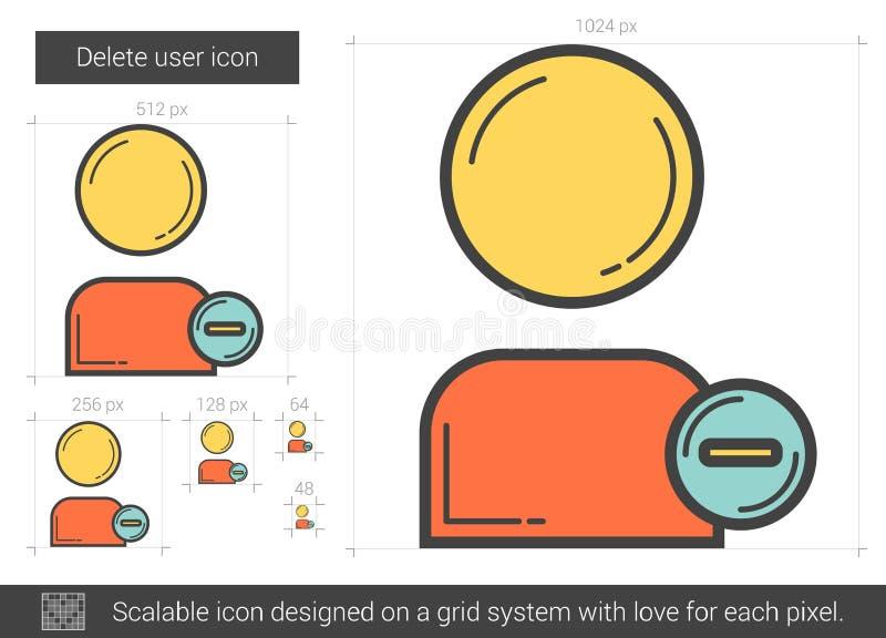 Borttagningsanvändarelinje symbol stock illustrationer
