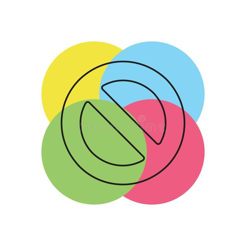 Borttagningssymbol - inget tecken, nära symbolvektor vektor illustrationer