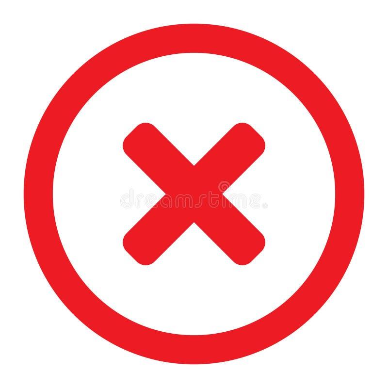 Borttagningssymbolen, den n?ra symbolvektorn, inget tecken, avbryter den symbol-, or?tt- och utskottsvaraillustrationen royaltyfri illustrationer