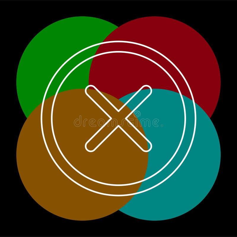 Borttagningstecken, symbol Runda f?rgglade 11 knappar vektor royaltyfri illustrationer