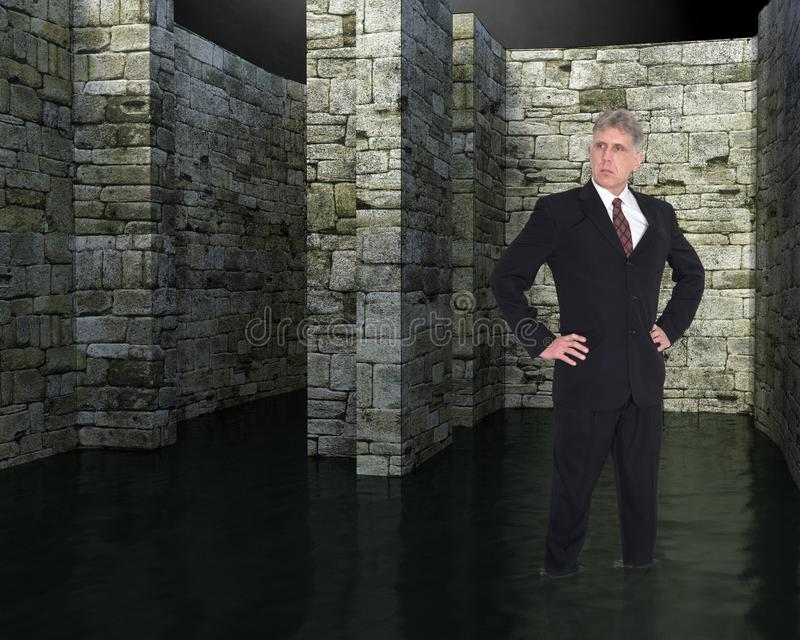 Borttappad affärsman, labyrint, problem, ledare arkivfoton