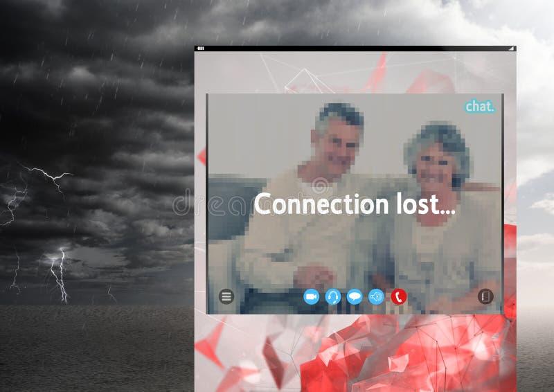 Borttappad storm för anslutning för social video pratstundApp-manöverenhet arkivfoton