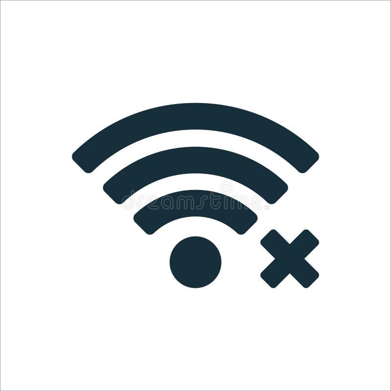 borttappad symbol för anslutning Wi-fi på vit bakgrund vektor illustrationer
