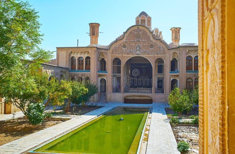 Borujerdi Dziejowy dom od swój tarasu, Kashan, Iran obrazy royalty free