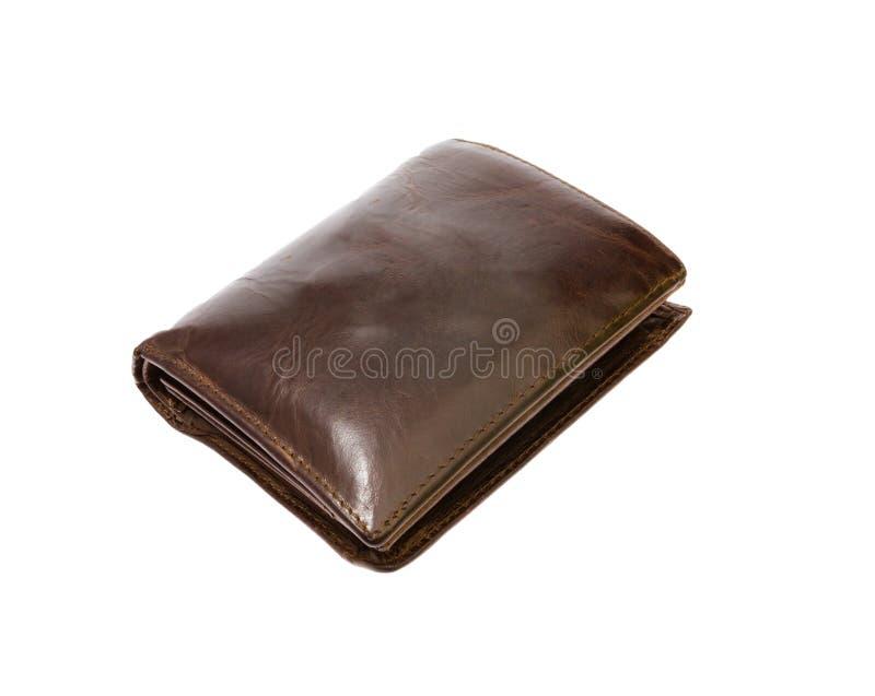 Borwn用皮革包盖在与剪报补丁的白色隔绝的钱包 库存照片