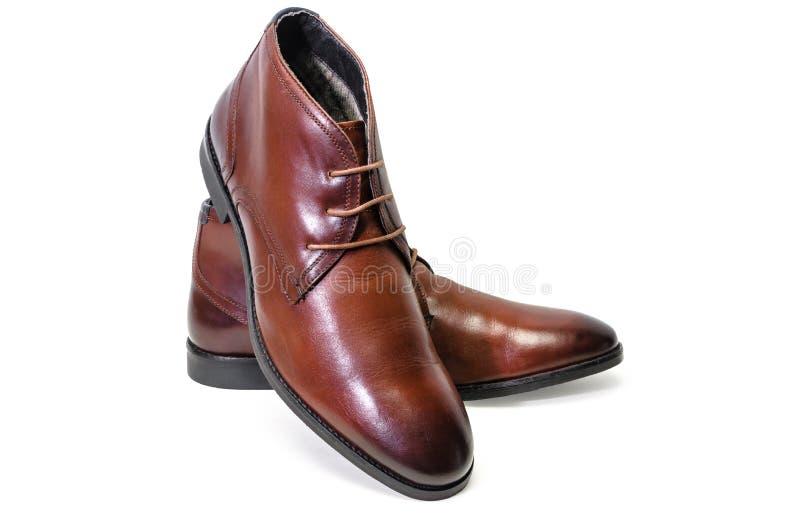 Borwn用皮革包盖在白色背景隔绝的人鞋子 侧视图 库存照片