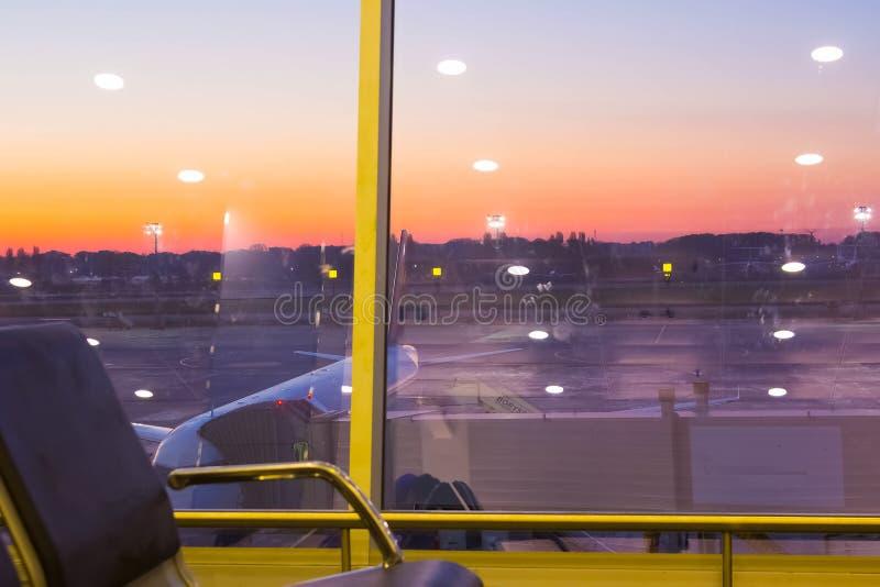 Boryspil, Ukraine- April 28, 2018: Departures Hall in International Airport Boryspil. Arrival-Departures timetable. Boryspil, Ukraine - April 28, 2018: The stock photo