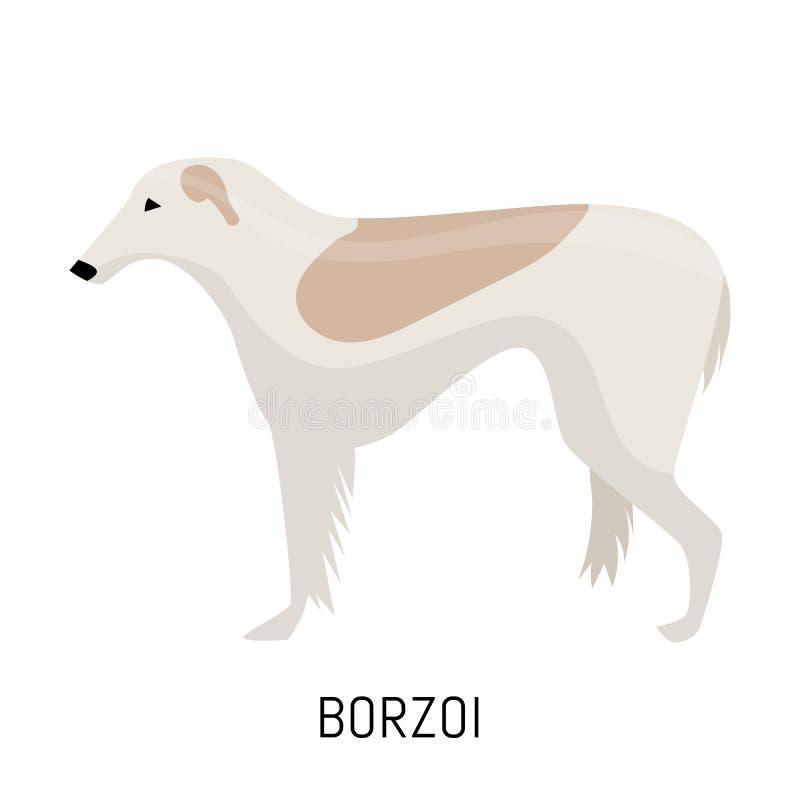 Borzoi. Dog, flat icon. Isolated on white background. Borzoi. Dog, flat icon, isolated on white background royalty free illustration