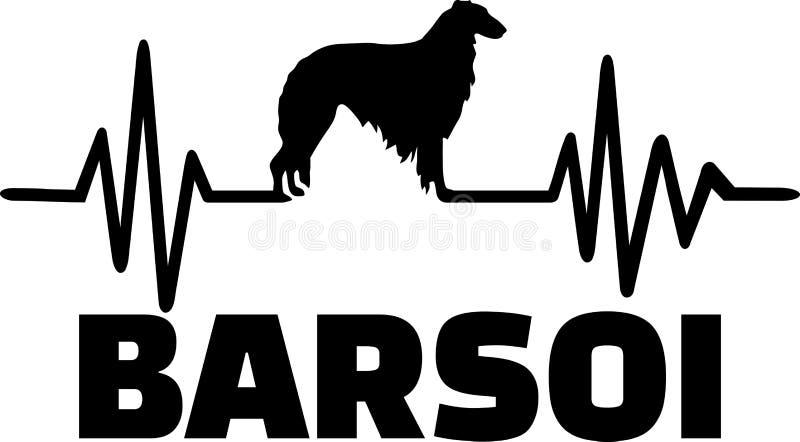 Borzoi heartbeat word german. Heartbeat pulse line with Borzoi silhouette german vector illustration