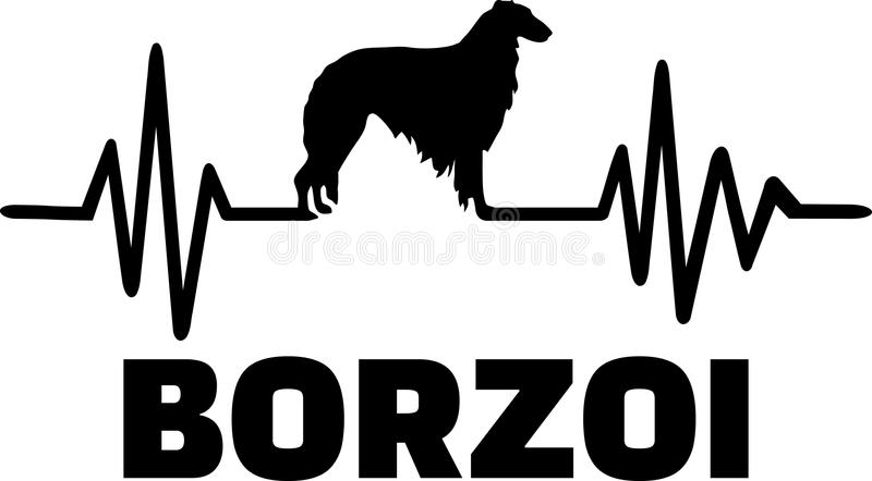 Borzoi heartbeat word. Heartbeat pulse line with Borzoi silhouette stock illustration