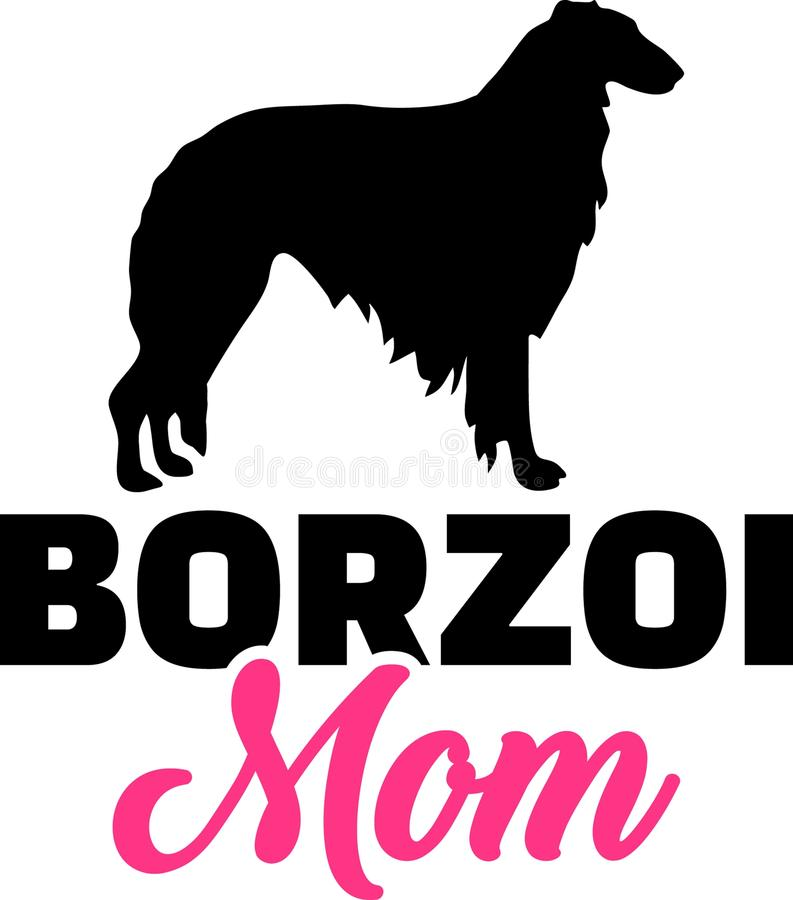 Borzoi mom silhouette. With pink word royalty free illustration