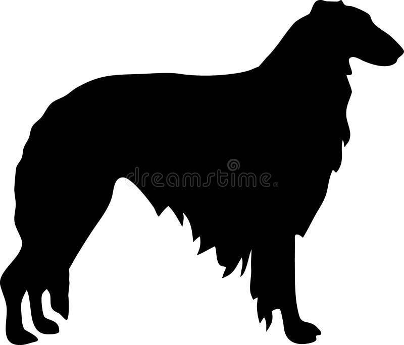Borzoi silhouette black. Borzoi silhouette real in black stock illustration