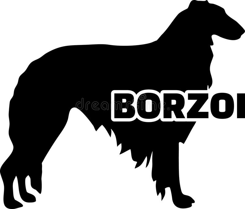 Borzoi silhouette real word. Borzoi silhouette real with word royalty free illustration