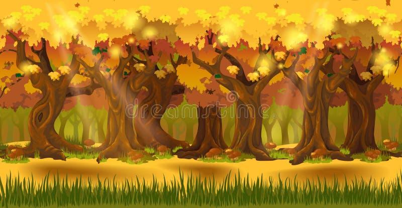 Bos bij de herfstachtergrond vector illustratie