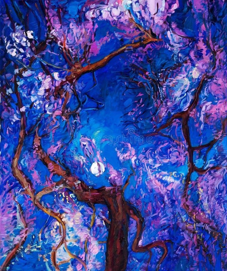Bos bij nacht royalty-vrije illustratie
