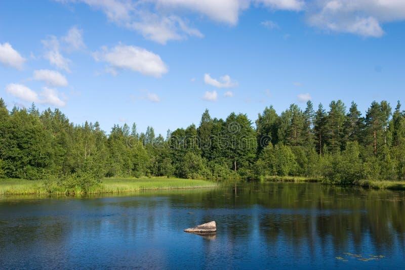 Bos blauwe meer en wolken stock afbeeldingen