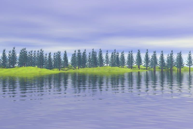 Bos dat meer wordt overdacht stock foto's