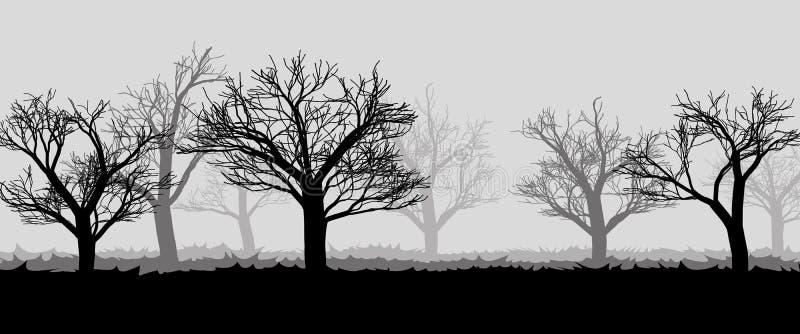 Bos in de donkere mist, bomensilhouetten royalty-vrije illustratie
