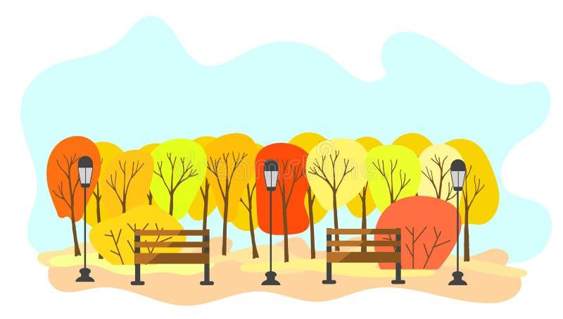 Bos in de Herfst met Hand Getrokken Bomen vector illustratie