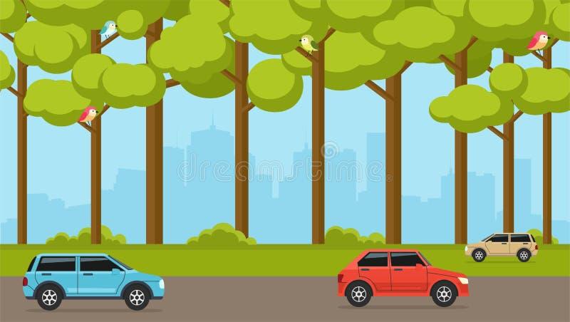 Bos in de voorsteden op de achtergrond van stad met auto's Straat met auto's vector illustratie