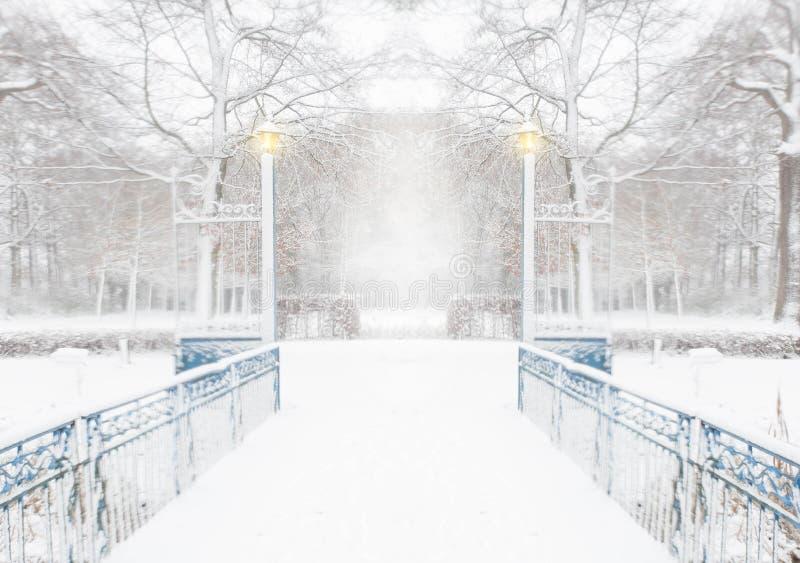 Bos in de winter met een blauwe brug en lichten op een sneeuwdag stock foto's