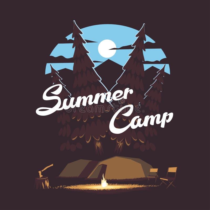 Bos de zomerkamp royalty-vrije illustratie