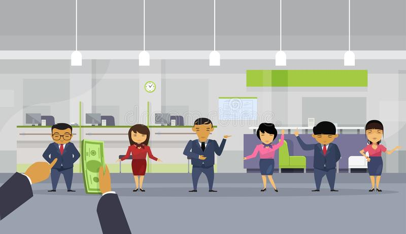 Bos-Geschäftsmann-Hand geben der Angestellt-Arbeitskraft-Gruppe Geld zu Team Of Asian Businesspeople Pay-Gehalt lizenzfreie abbildung