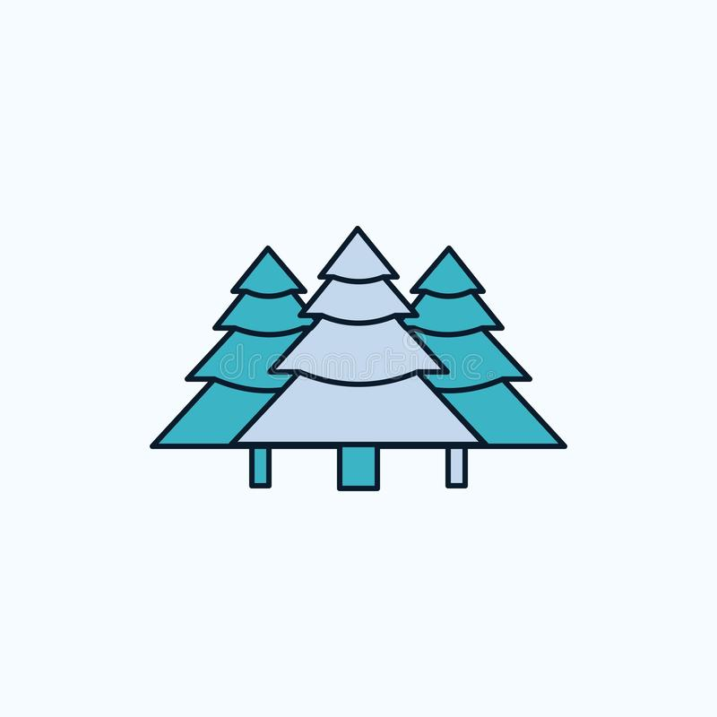 bos, het kamperen, wildernis, boom, pijnbomen Vlak Pictogram groene en Gele teken en symbolen voor website en Mobiele appliation  royalty-vrije illustratie