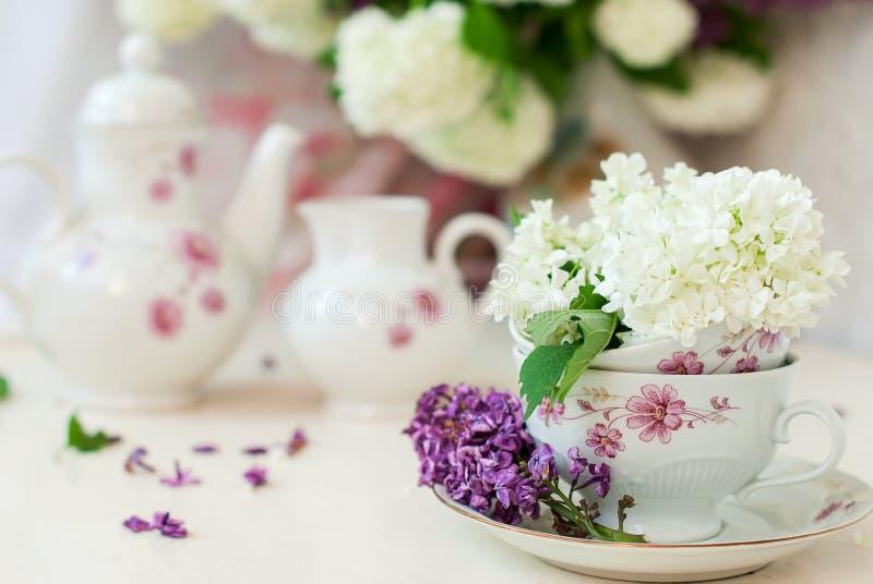 Bos lilac bloemen in een kom stock afbeeldingen