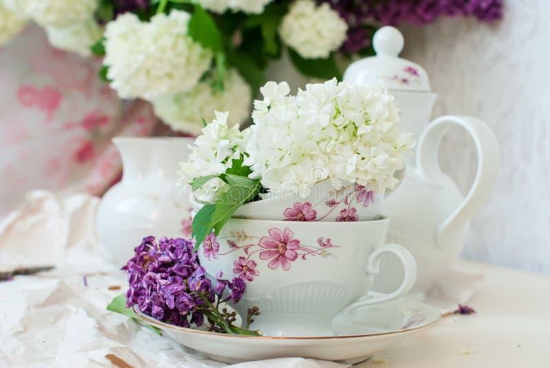 Bos lilac bloemen in een kom royalty-vrije stock afbeelding