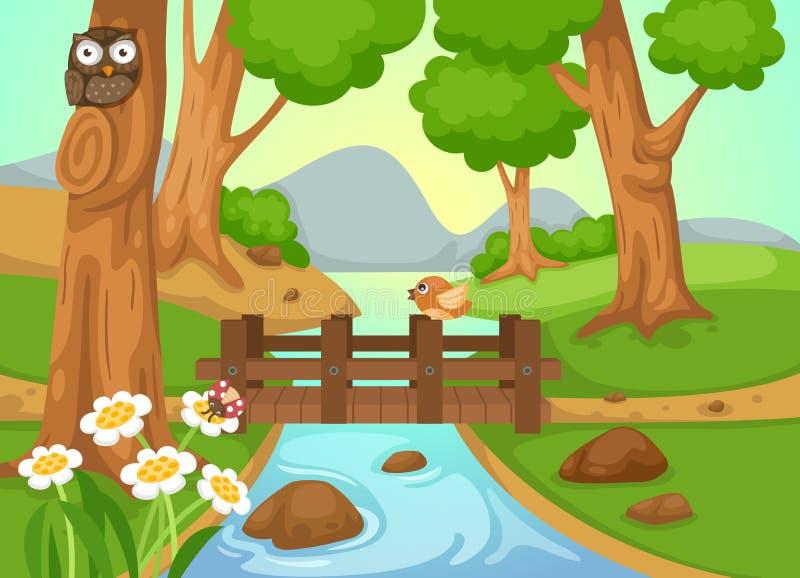Bos met een rivier achtergrondvector royalty-vrije illustratie