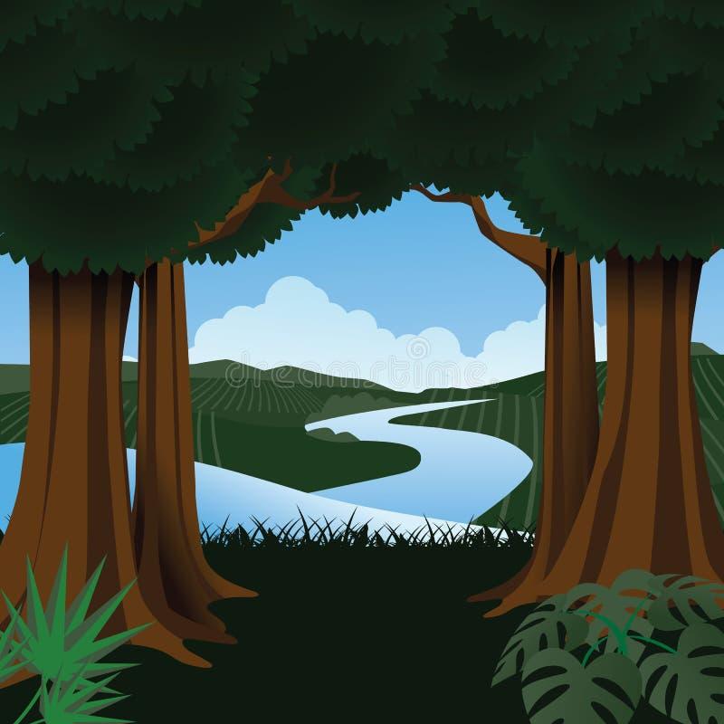 Bos met stroom op de achtergrond royalty-vrije illustratie