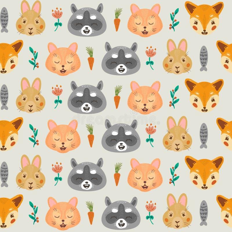 Bos naadloos patroon met vos, wasbeer, Konijntje en Kat royalty-vrije illustratie