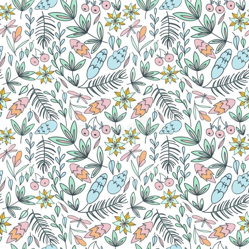 Bos naadloos patroon in pastelkleuren vector illustratie
