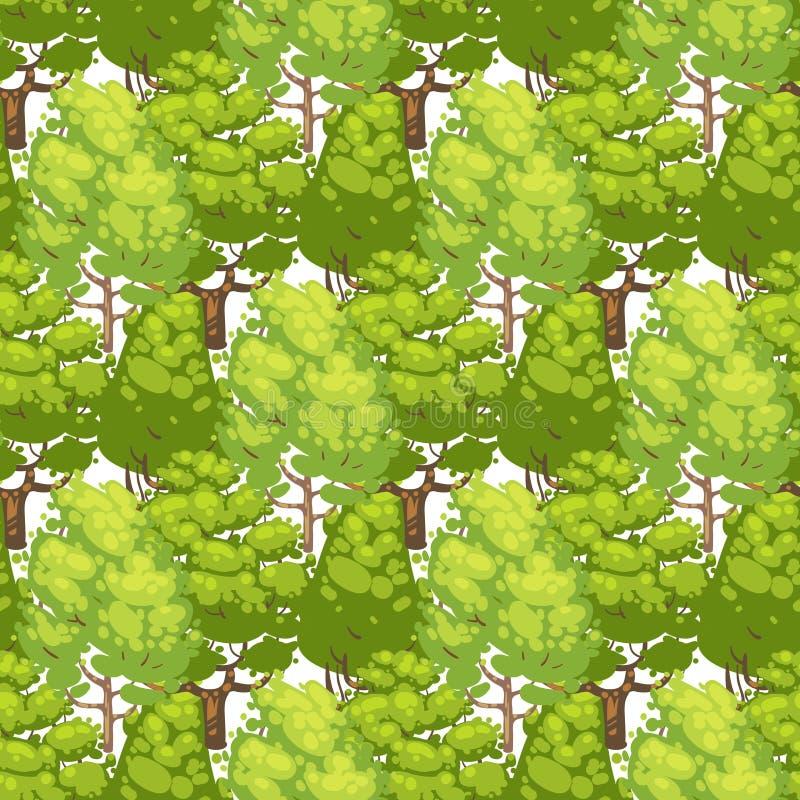 Bos naadloos patroonontwerp - groene ecotextuur met bomen royalty-vrije illustratie