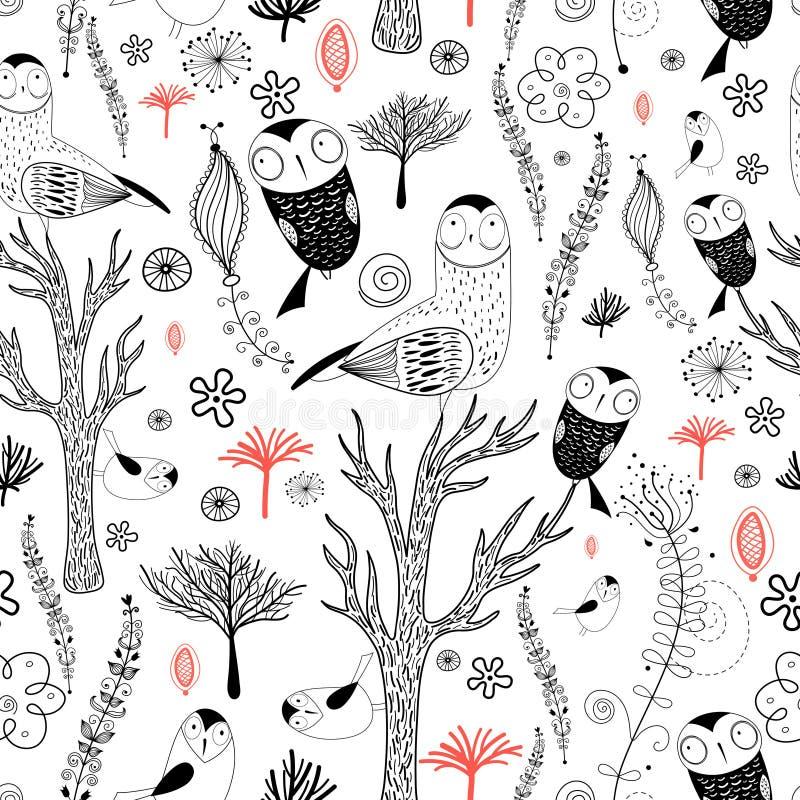 Bos patroon met uilen royalty-vrije illustratie