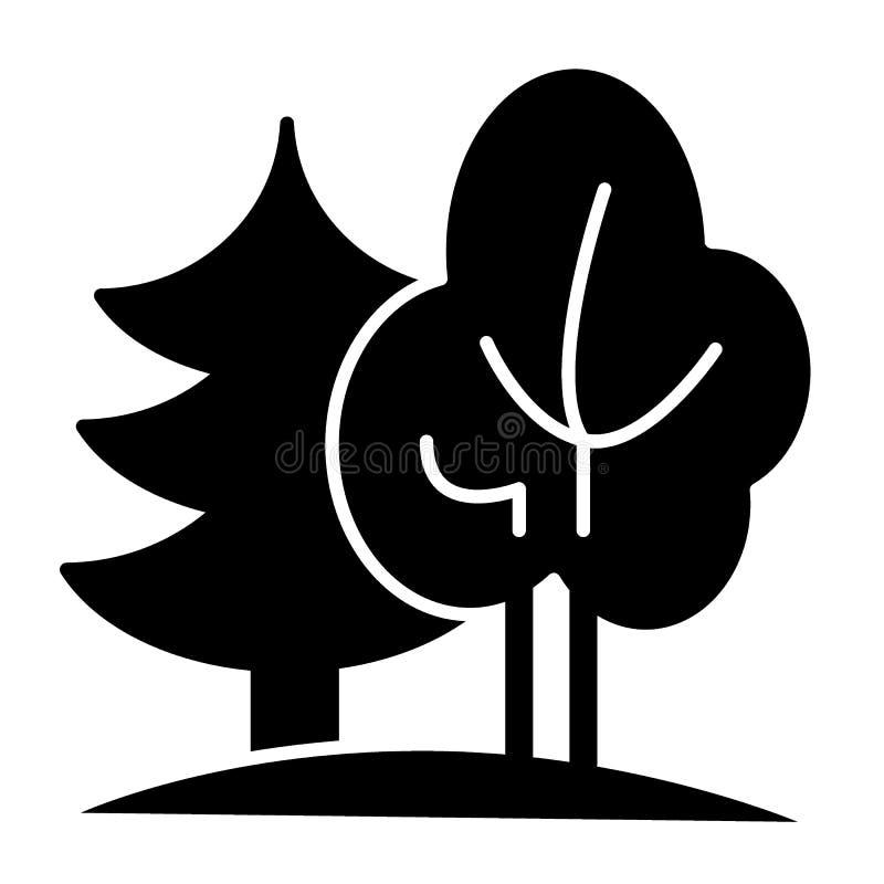 Bos stevig pictogram Aard vectordieillustratie op wit wordt geïsoleerd Het ontwerp van de bomen glyph stijl, voor Web dat en app  vector illustratie