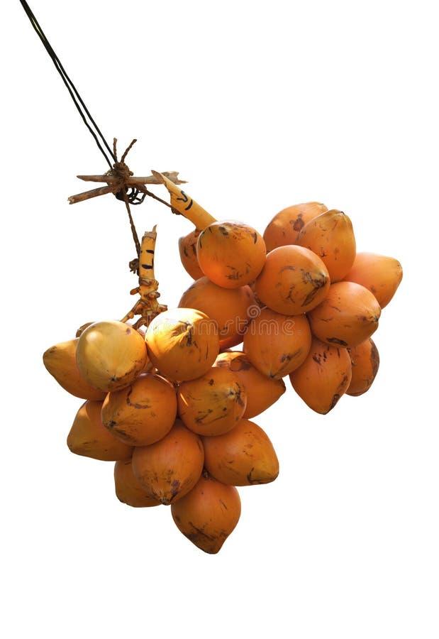 Bos twee van de oranje vertoning van koningskokosnoten voor verkoopt op witte bac royalty-vrije stock afbeeldingen
