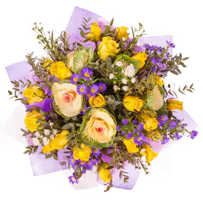 Bos van bloemen hoogste die mening op wit wordt geïsoleerd stock afbeeldingen