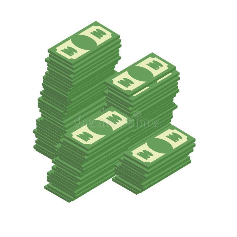 Bos van contant geld Stapels van dollars rijkdom Vector illustratie stock illustratie