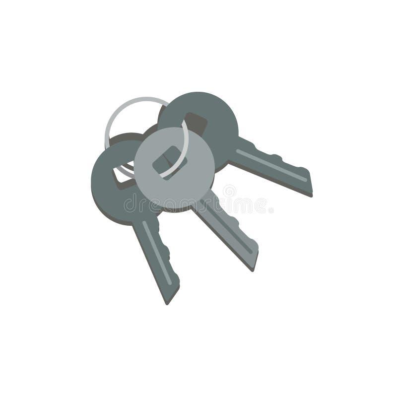 Bos van drie metaalsleutels die op ring hangen Sleutel van auto, huisdeur en veilige doos Concept veiligheid Beeldverhaalpictogra vector illustratie