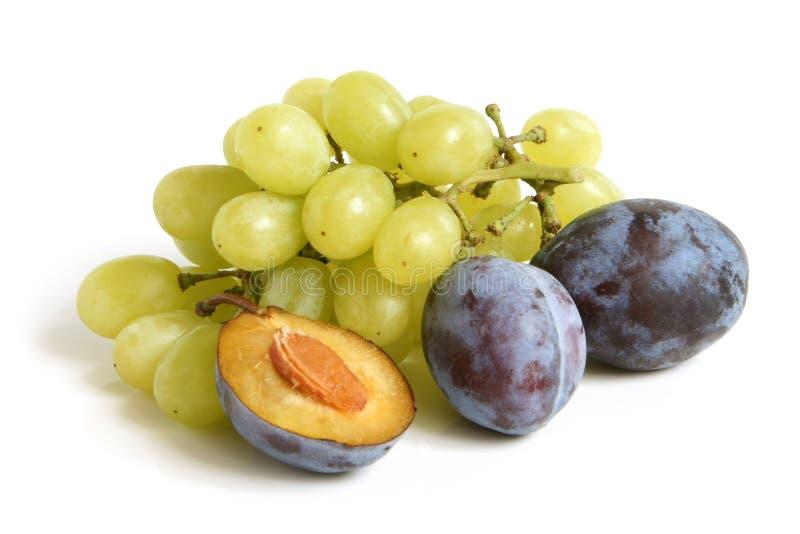 Bos van druiven en pruimen stock foto's